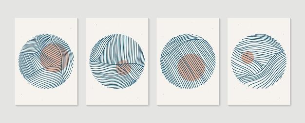 Set di poster di cerchi artistici minimalisti disegnati a mano