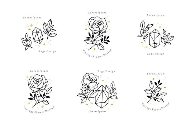 Set di elementi di logo minimalista foglia di cristallo e fiore rosa disegnati a mano