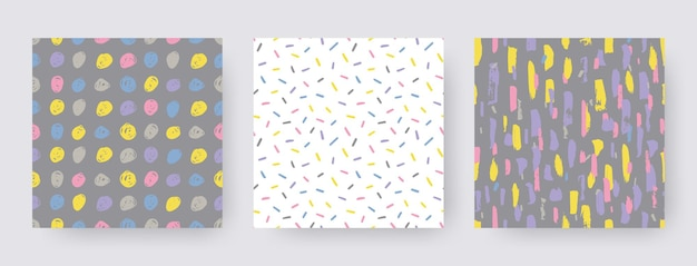 Impostare modelli moderni disegnati a mano di pennellate. forme di struttura senza giunte di vettore. sfondi astratti in colore boho. stampa decorativa