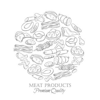 Impostare carne icona monocromatica disegnata a mano