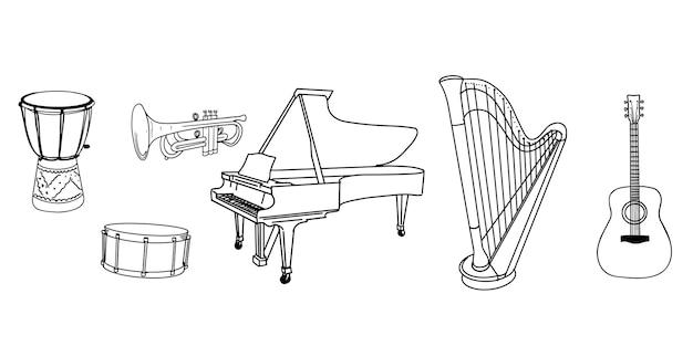 Set di scarabocchi musicali disegnati a mano, strumenti isolati su priorità bassa bianca. illustrazione vettoriale.