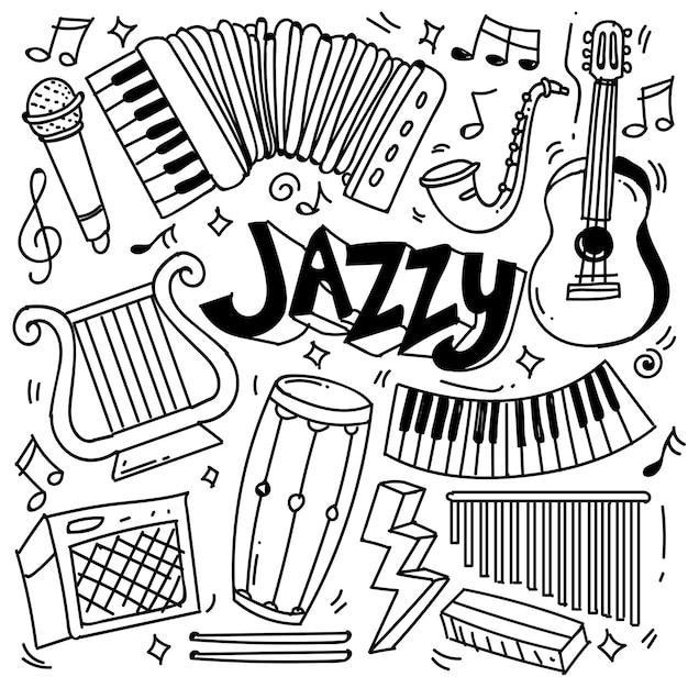 Set di tema musicale disegnato a mano isolato su sfondo bianco, set di scarabocchi del tema di strumenti musicali. illustrazione vettoriale