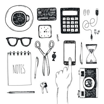 Set di strumenti per ufficio disegnati a mano. freelance, strumenti per fare affari online, imprenditore.