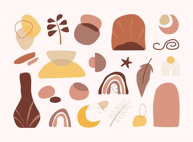 Set di forme astratte organiche disegnate a mano per decorazioni alla moda per baby shower e decorazioni per pareti. elemento boho disegnato a mano in stile contemporaneo scandinavo. modello di blob della scuola materna del bambino