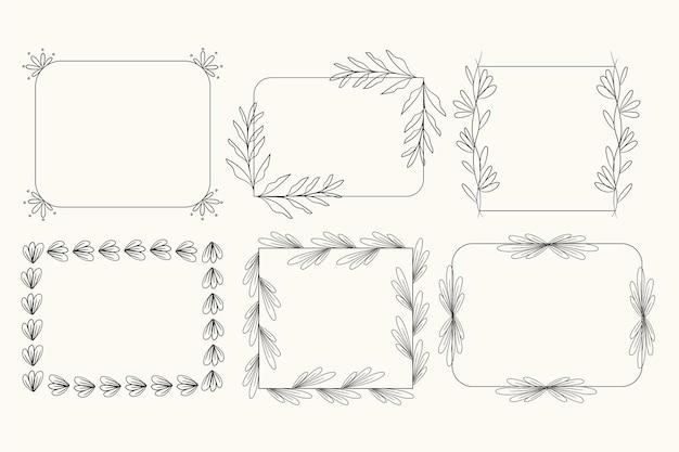 Set di cornici ornamentali disegnate a mano