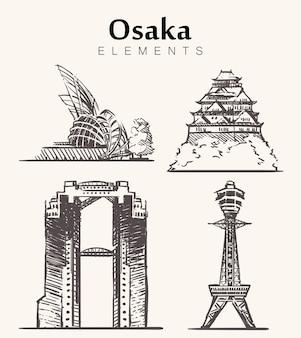 Insieme di edifici di osaka disegnati a mano
