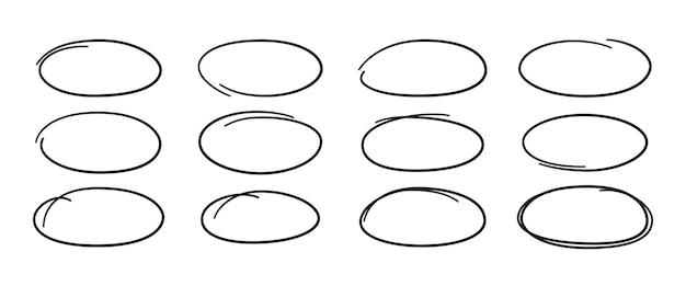 Set di ovali disegnati a mano. evidenzia le cornici del cerchio. ellissi in stile scarabocchio.