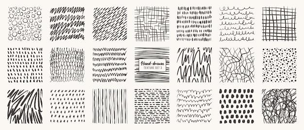 Set di modelli disegnati a mano isolati texture vettoriali realizzati con pennello a matita inchiostro
