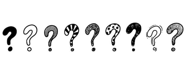 Set di punti interrogativi disegnati a mano isolati su sfondo bianco. illustrazione vettoriale.