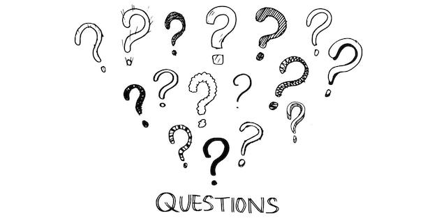 Set di punti interrogativi disegnati a mano. illustrazione vettoriale.