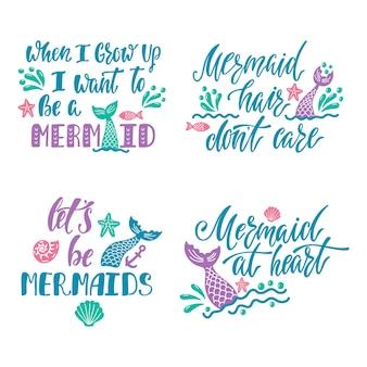 Set di citazioni disegnate a mano sulle sirene.