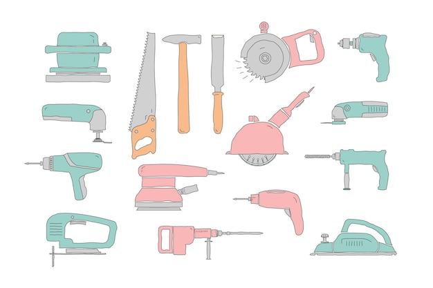 Set di strumenti di carpenteria per ristrutturazioni di riparazione disegnati a mano