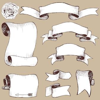 Set di nastro disegnato a mano, banner e fiori di rosa invecchiato