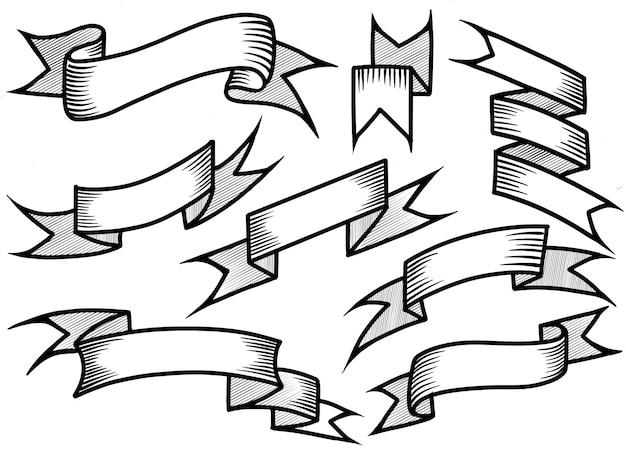Set di nastri disegnati a mano
