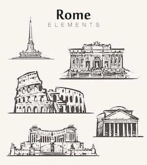 Set, di, hand-drawn, roma, buildings., roma, elementi, schizzo, illustration., colosseo, pantheon, vittoriano, trevi, fountain.