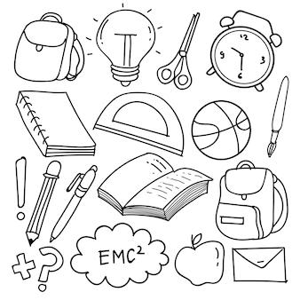 Set di clipart scuola disegnata a mano. icone e simboli della scuola di scarabocchio di vettore nello stile di scarabocchio, illustrazione di vettore