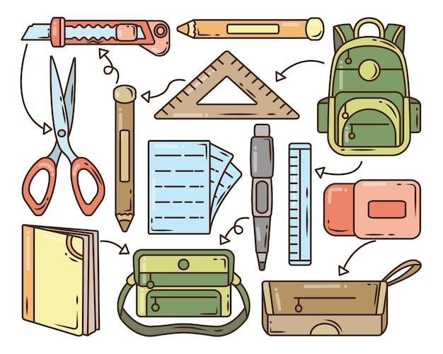 Insieme della raccolta di doodle del fumetto di elementi scolastici disegnati a mano