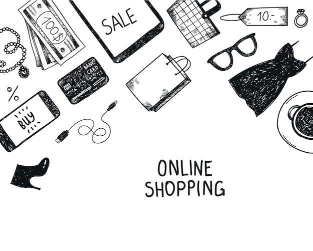 Set di oggetti online di acquisto disegnati a mano, illustrazione, icone. banner, poster, carta in bianco e nero