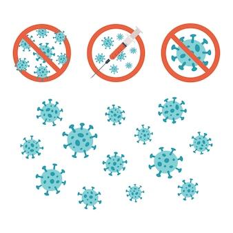Set di simboli disegnati a mano del coronavirus covid 19.