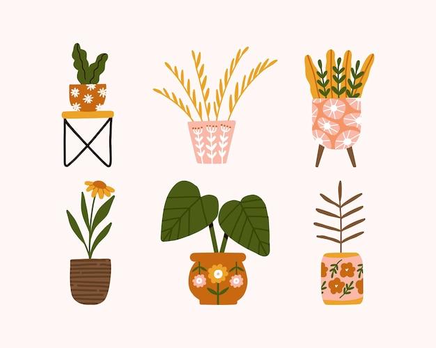 Impostare decorazioni per la casa alla moda disegnate a mano con illustrazione di piante di fiori in vaso hygge indoor in stile scandinavo