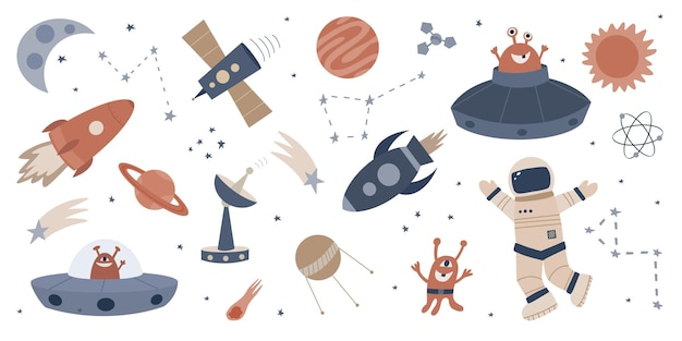 Set di ve disegnati a mano dello spazio raccolta di clipart di ufo mostri pianeti astronauta