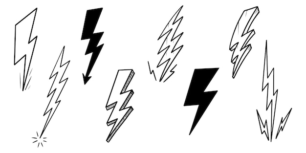 Insieme delle illustrazioni di schizzo di simbolo del fulmine elettrico di doodle di vettore disegnato a mano. illustrazione vettoriale.