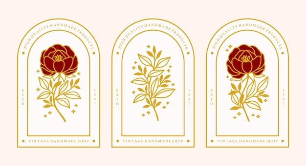 Set di elementi di rami di fiori e foglie di rosa botanica oro vintage disegnati a mano