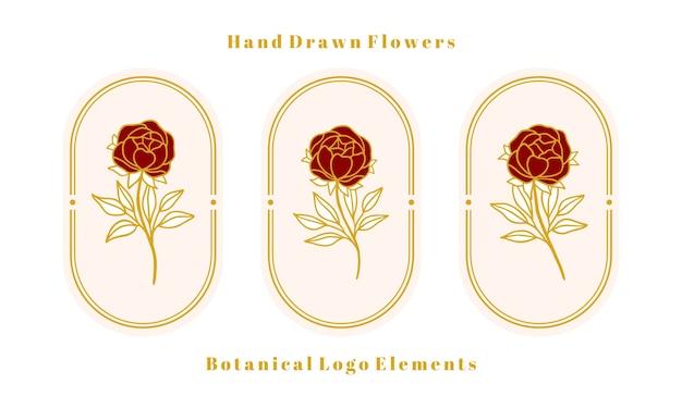 Set di elementi floreali, peonia e foglia di rosa botanica oro vintage disegnati a mano per logo femminile e marchio di bellezza