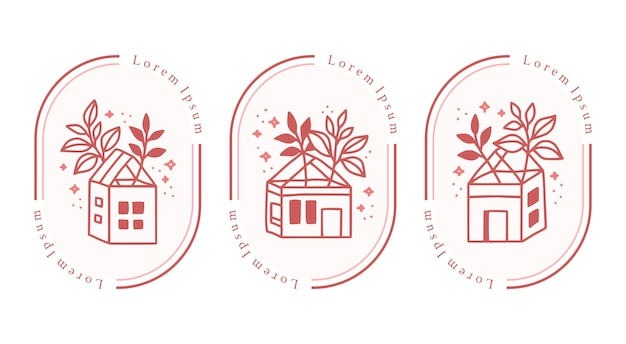 Set di casa vintage disegnata a mano e rosa botanica per elemento di logo di bellezza femminile