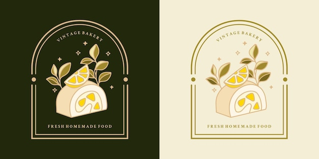 Set di torte al limone vintage disegnati a mano e cornice