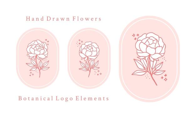 Set di elementi floreali, peonia e foglia di rosa botanica rosa vintage disegnati a mano per il logo femminile e il marchio di bellezza