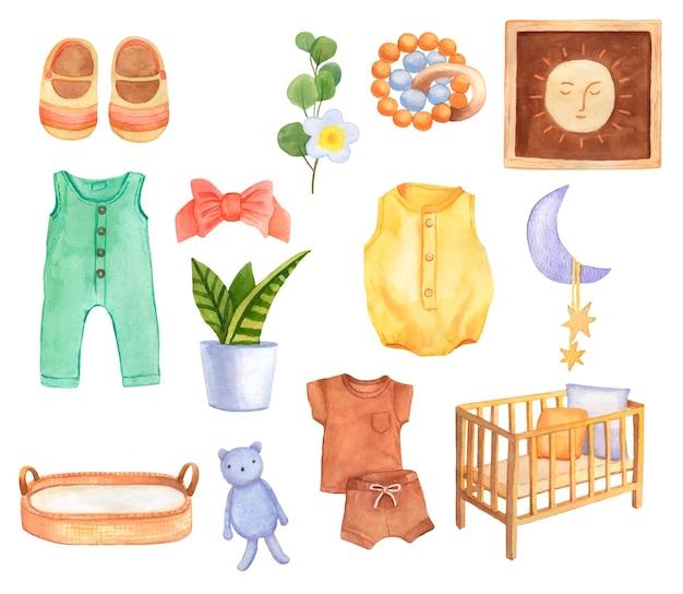 Set di elementi acquerelli disegnati a mano della stanza del bambino