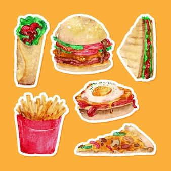 Set di cibo acquerello disegnato a mano