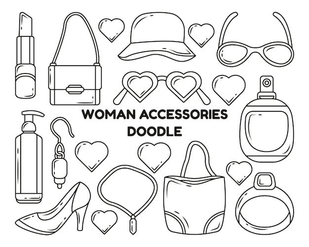 Set di accessori donna disegnati a mano da colorare in stile scarabocchio del fumetto