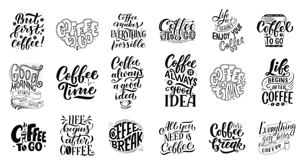 Set di citazioni scritte a mano con schizzi per caffetteria o caffetteria