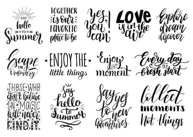 Set di scritte a mano con frasi motivazionali. raccolta di citazioni ispiratrici di calligrafia.