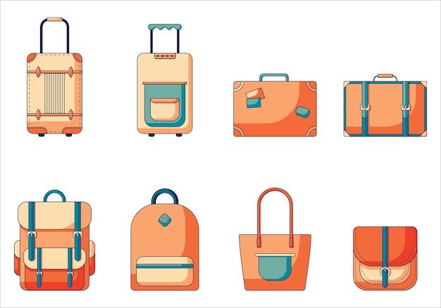 Set di borse e valigie in colori in stile retrò con diverse varianti di borse