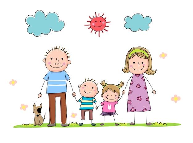 Insieme della famiglia del fumetto disegnato a mano che tiene la mano insieme durante una giornata di sole