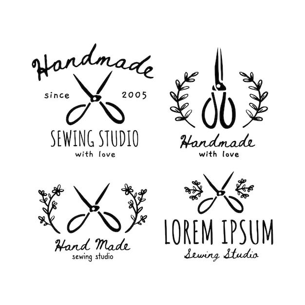 Un set di icone fatte a mano, etichette, icone ed elementi del logo. illustrazione vettoriale di forbici fatte a mano. design per sarta artigianale, studio di cucito