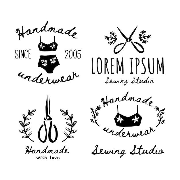 Un set di icone fatte a mano, etichette, icone ed elementi del logo. illustrazione vettoriale di forbici fatte a mano e biancheria intima. design per etichette master fatte a mano