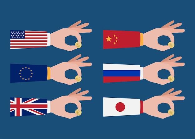 Set di mani che tengono moneta d'oro in valuta diversa, concetto di cambio valuta, illustrazione vettoriale