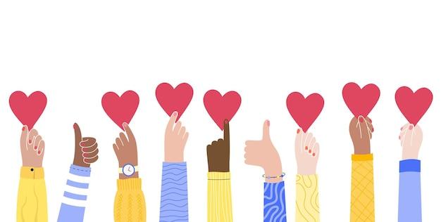 Set di mani che tengono un cuore il concetto di volontariato o amore