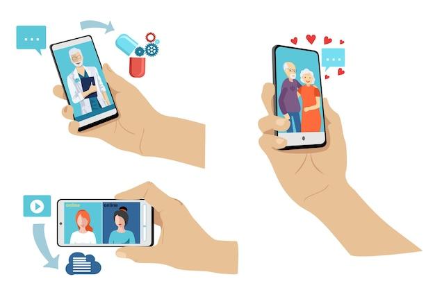 Set di mani che tengono moderno telefono cellulare. Vettore Premium