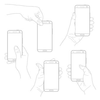 Insieme delle mani che tengono smartphone neri moderni verticali su bianco