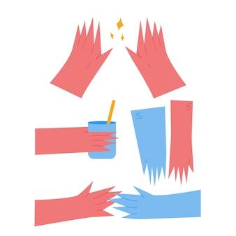 Set di mani in uno stile moderno e alla moda. una mano tiene un bicchiere, le mani di due persone si toccano, le mani mostrano qualcosa. mani rosse e blu del fumetto. illustrazione vettoriale.