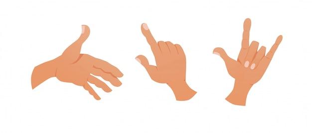 Set di mani che mostrano vari gesti.
