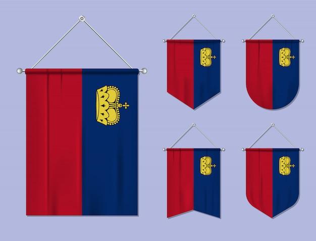 Set di appendere bandiere liechtenstein con trama tessile. forme di diversità del paese di bandiera nazionale. stendardo modello verticale