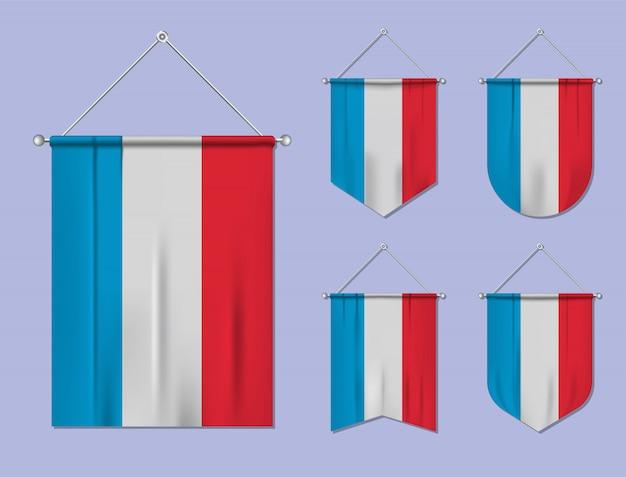 Set di appendere bandiere lussemburgo con trama tessile. forme di diversità del paese di bandiera nazionale. stendardo modello verticale