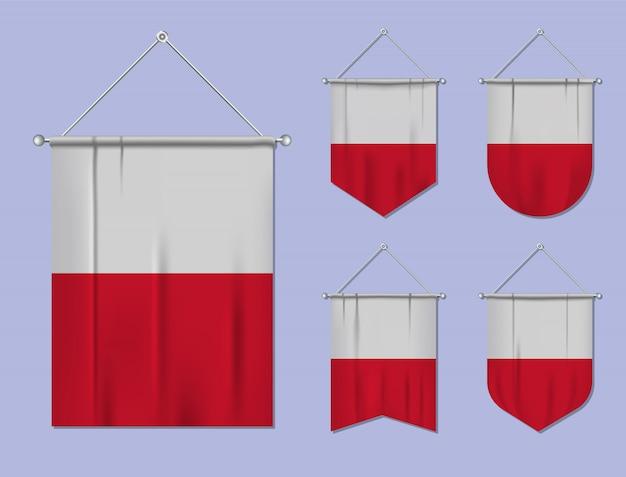 Set di appendere bandiere malta con trama tessile. forme di diversità del paese di bandiera nazionale. stendardo modello verticale