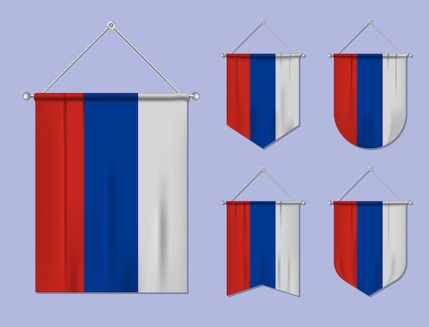 Set di appendere bandiere russia con trama tessile. forme di diversità del paese di bandiera nazionale. stendardo modello verticale.